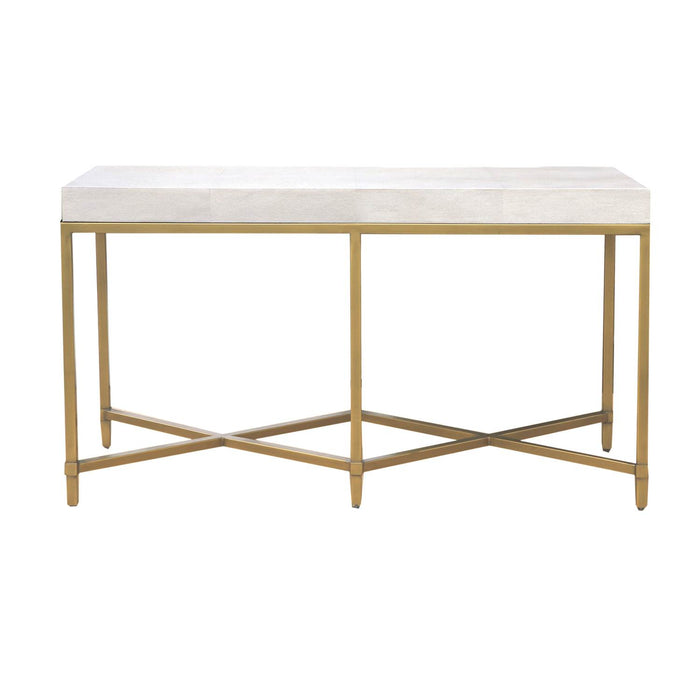 "Strand Shagreen Console Table in White Shagreen, Brushed Gold Transitional style console table featuring White Shagreen rectangle top over Brushed Gold metal base. Featuring Faux Shagreen Resin,  W:54"" D:19.5"" H:30"" Traditions Collection"