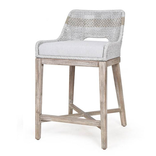 "Tapestry Counter Stool in Taupe & White Flat Rope, Taupe Stripe, Natural Gray Mahogany, Pumice Fabric | 100% Olefin Rope, 100% Olefin Fabric Transitional style counter stool featuring solid Mahogany frame and interwoven White Flat Rope design. Featuring Interwoven Rope Pattern, ""X"" Stretcher Base Design W:19"" D:22"" H:35"" Wicker Collection"