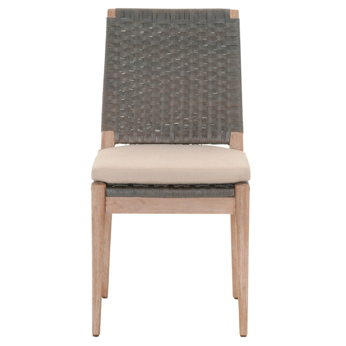"Thatcher Dining Chair (Set of 2) in Gray Wash Paper Loom, Light Gray Fabric, Stone Wash Mahogany | 55/45 Linen/Polyester Transitional style dining chair featuring removable upholstered seat cushion and distressed finish. Featuring Removable Upholstered Seat Cushion, Distressed Finish W:18"" D:24"" H:37"" Wicker Collection"