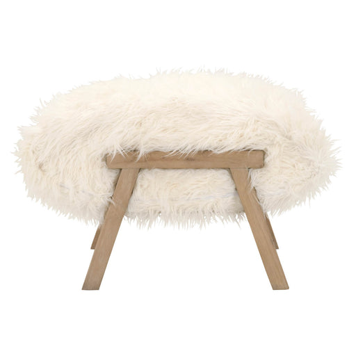 "Tibet Ottoman in White Fur, Smoke Gray Oak | Solid Reclaimed Oak, Artificial Wool Transitional style ottoman featuring White Fur top and Smoke Gray Oak finish. Featuring Reclaimed Oak Wood, Reversible Cushion W:29"" D:20"" H:21"" Bella Antique Collection"
