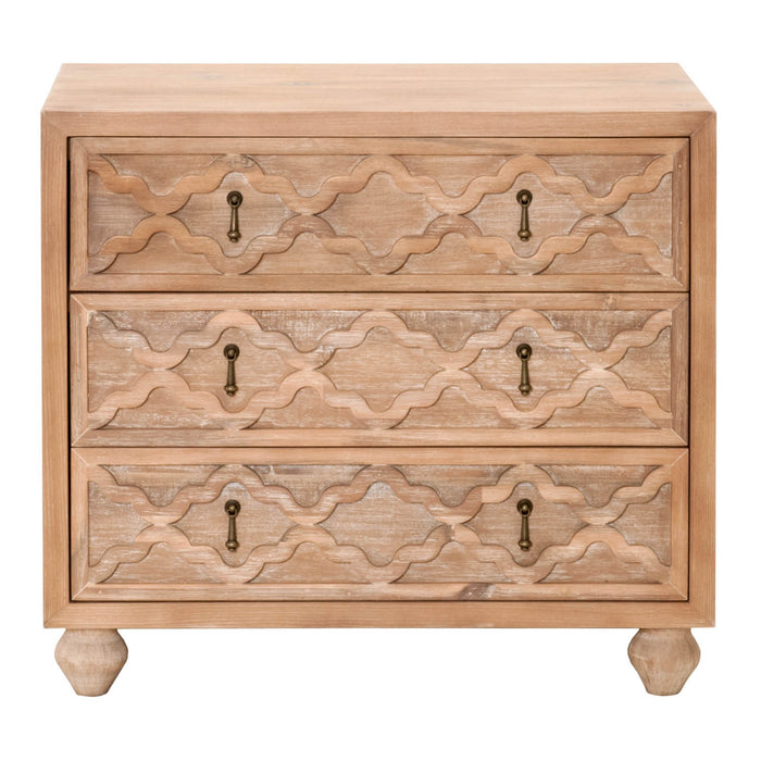 "Trellis Nightstand in Stone Wash | Acacia Veneer, Bronze Hardware Transitional style nightstand featuring three storage drawers in Stone Wash finish with Bronze hardware. Featuring Bronze Metal Decorative Dangle Hardware, Solid Wood Turned Feet W:32"" D:19"" H:28.5"" Traditions Collection"