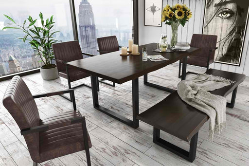 Modrest Leon Modern Umber Wood Live Edge Dining Table