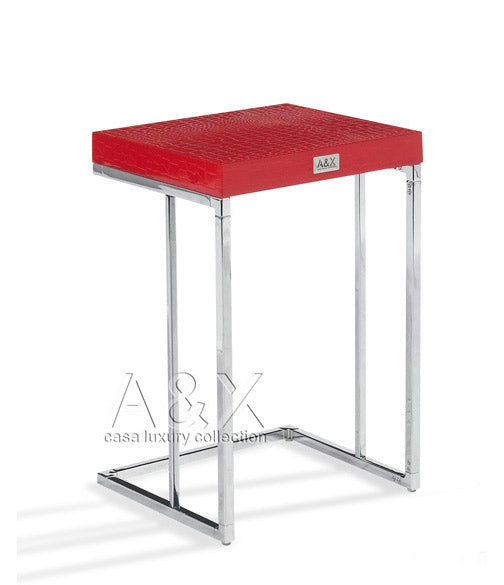 A&X Amelia - Modern Red Crocodile Lacquer Nesting Table Set