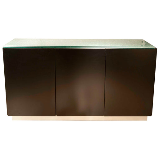 "Veronica Buffet Base in Dark Walnut, Pearl Silver Aluminum | Top Sold Separately Contemporary buffet base featuring three drawers in Dark Walnut finish. Featuring 3 Cabinet Doors, 2 Interior Drawers W:60"" D:18"" H:30"" Ritz Collection"