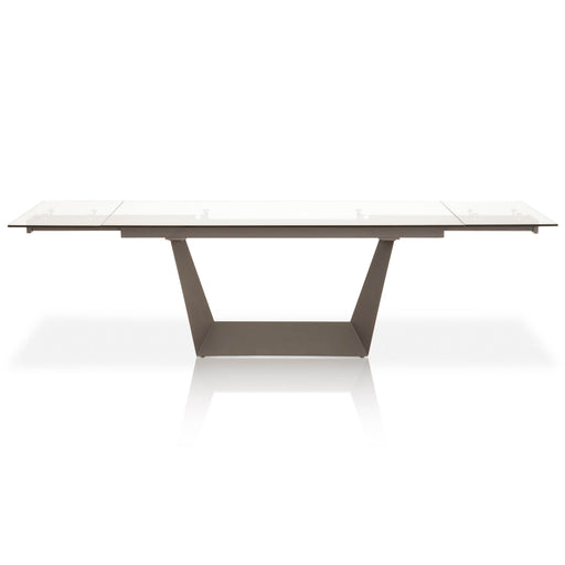 "Victory Extension Dining Table in Matte Dark Grey, Clear Glass Contemporary style dining table featuring two self-storing extension leaves and tempered glass top. Featuring Clean, Modern Design with Great Function, 2 Self-Storing Extension Leaves W:71-106.5"" D:41.5"" H:29.5"" Meridian Collection"