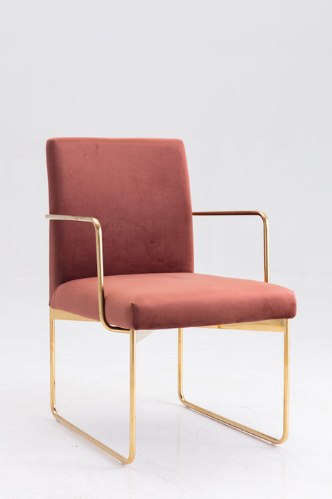 Modrest Thelan Modern Copper Fabric & Gold Dining Chair