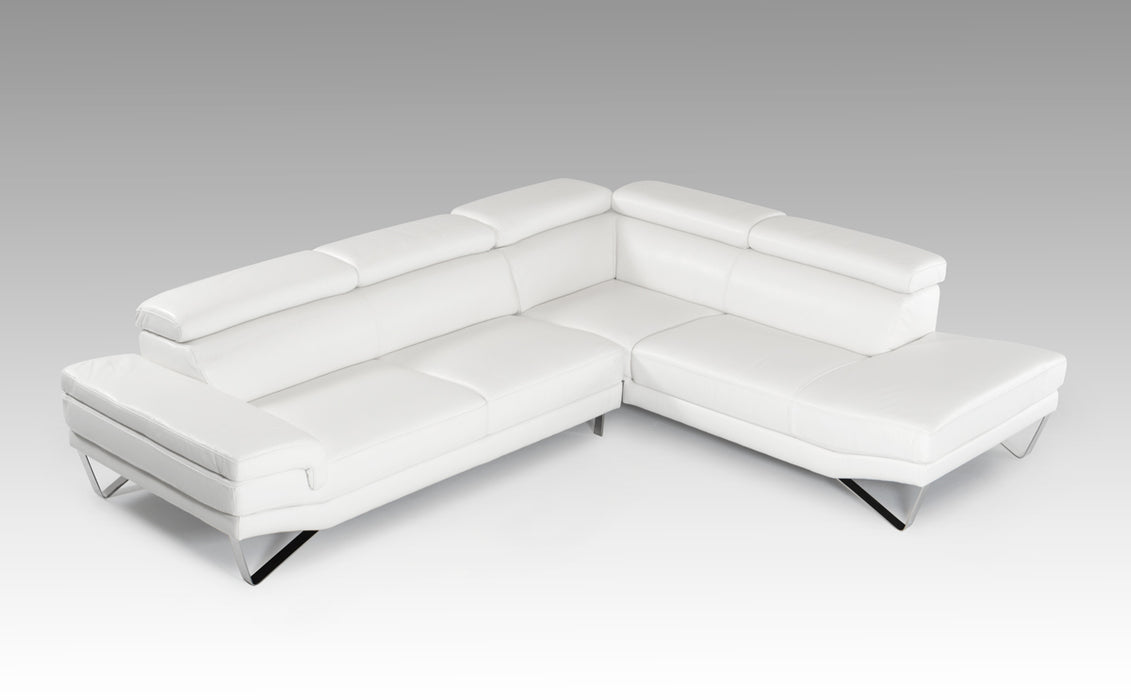 David Ferrari Aria Modern White Italian Leather Sectional Sofa