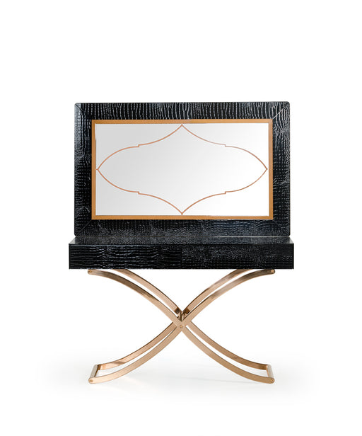 A&X Aversa Modern Black Crocodile Console Table & Mirror