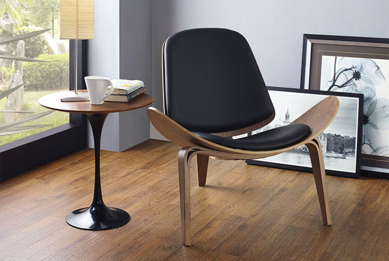 Modrest Warren Modern Black & Walnut Accent Chair