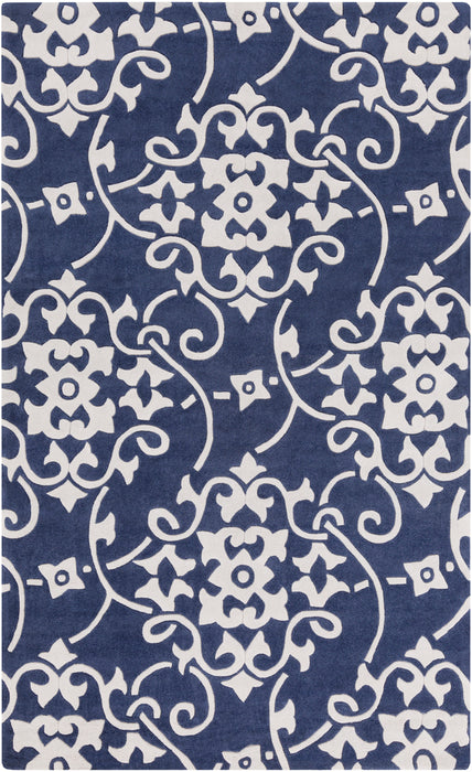 COS-9201 edition. Variant Number COS9201-1616 is an Area Rugmanufactured, and tailored by Suryarugs, and part of the Cosmopolitan Collection. Cosmopolitan is one of our top selling best sellers, and Hand Tufted in China.  Made with Knot type  with elegant details , Carved. Made with 100% Polyester  material in Polyester, 100% Polyester. Backing is Cotton Canvas (with Latex) and this beautiful rug is in the colors Navy, White. T