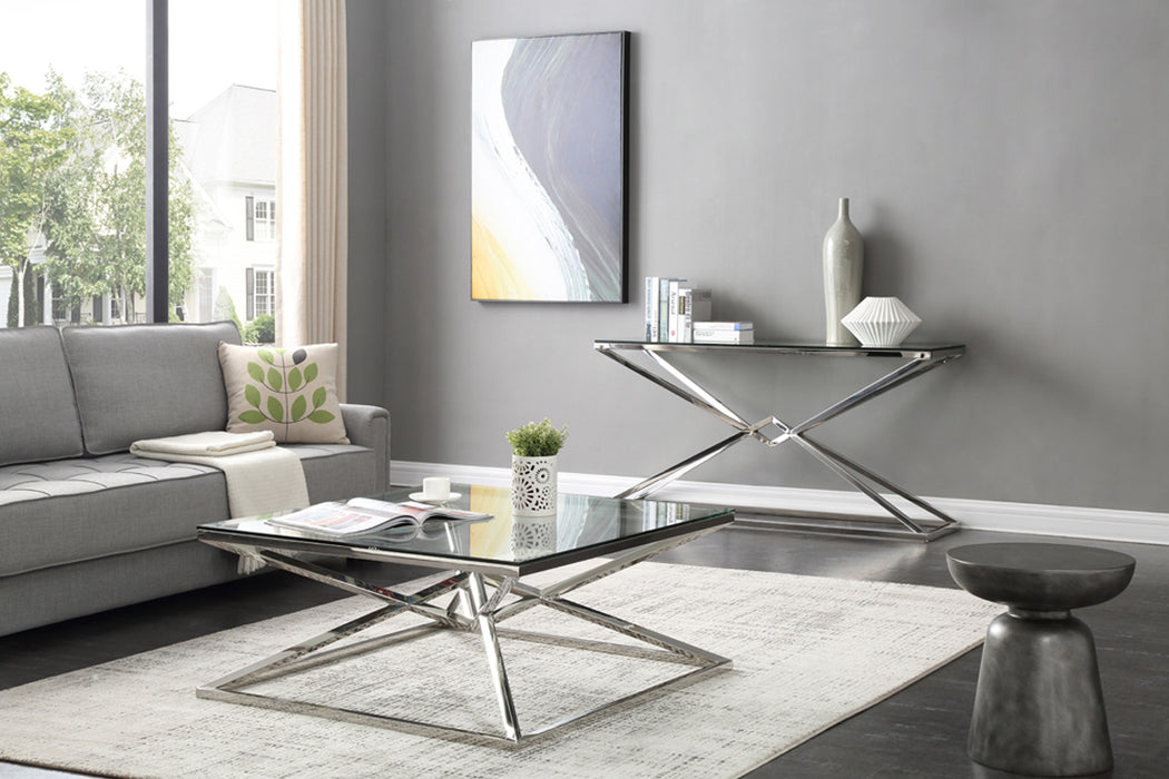 Modrest Xander Modern Glass & Stainless Steel Console Table