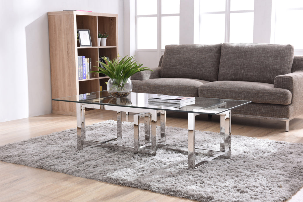 Modrest Valiant Modern Glass & Stainless Steel Coffee Table