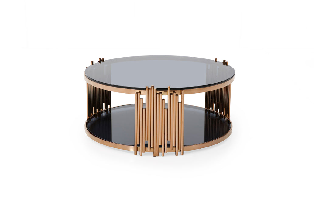 Modrest Bryce Modern Smoked Glass & Rosegold Round Coffee Table