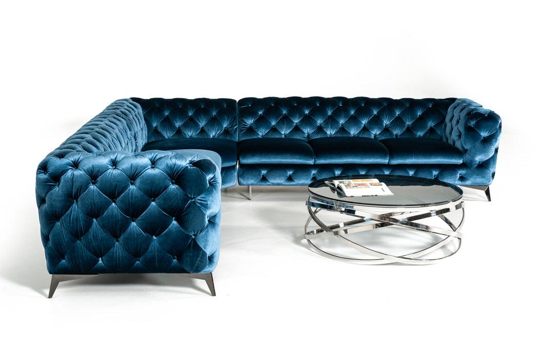 Outstanding Divani Casa Delilah Modern Blue Fabric Sectional Sofa Pdpeps Interior Chair Design Pdpepsorg