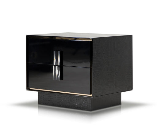 A&X Bellagio - Modern Black Crocodile Lacquer Nightstand