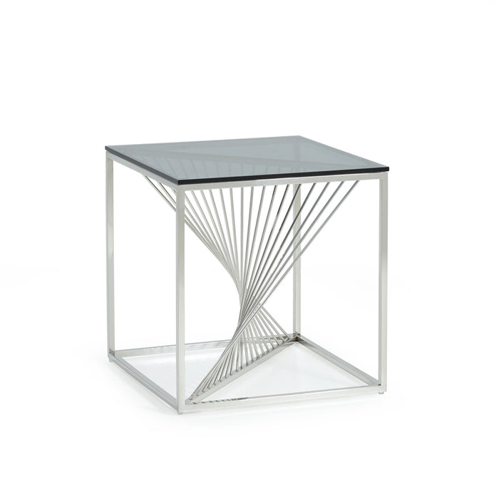 Modrest Trinity Modern Glass & Stainless Steel End Table