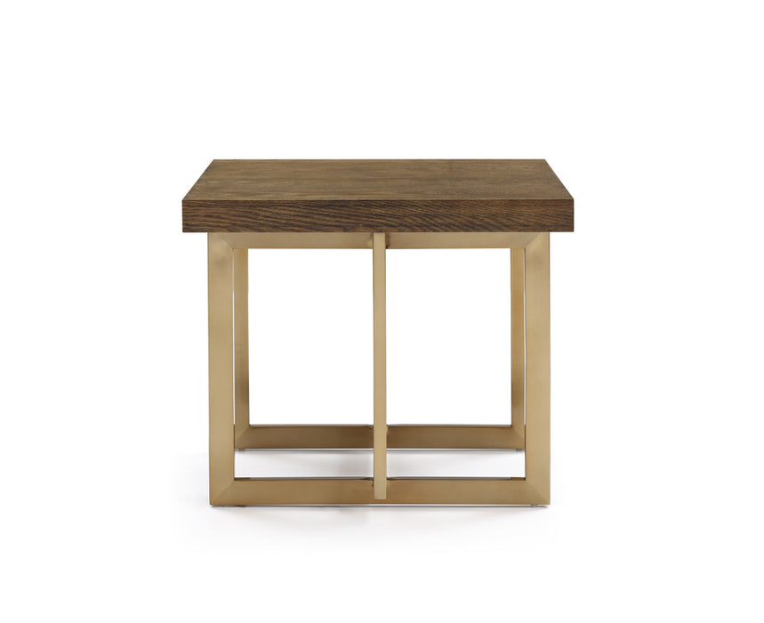 Modrest Pike Modern Elm & Antique Brass End Table