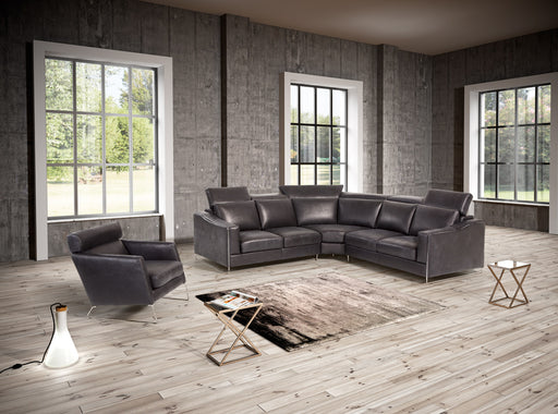 Estro Salotti Ethan Modern Black Leather Sectional Sofa