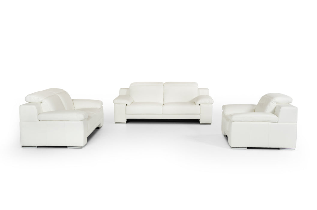 Estro Salotti Evergreen Modern White Leather Sofa Set
