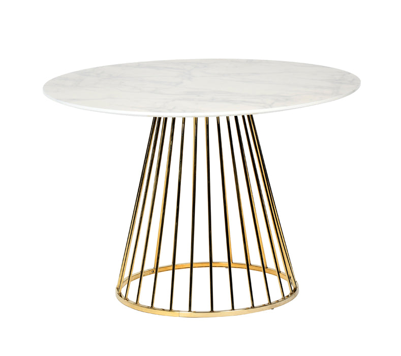Modrest Holly Modern White & Gold Round Dining Table