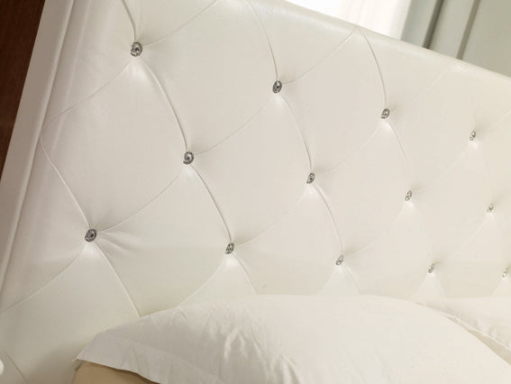 Modrest Monte Carlo - Leatherette Modern Bed with Crystals
