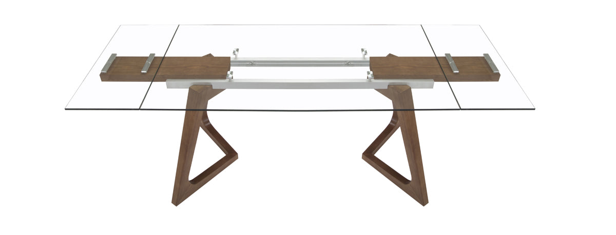 Modrest Ruth Modern Extendable Glass & Walnut Dining Table