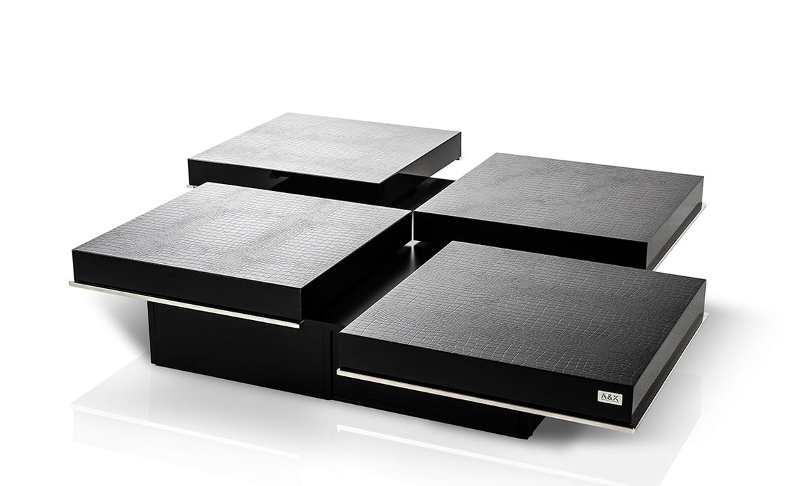- A&X Horizon - Modern Crocodile Black Coffee Table With Pull Out