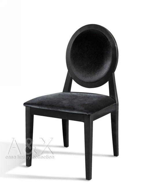 A&X Alice - Transitional Black Lacquer Fabric Side Chair (Set of 2)