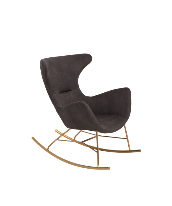 Modrest Cassidy Modern Dark Grey & Gold Rocking Chair