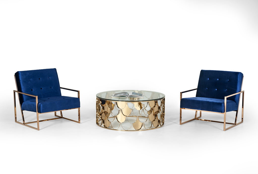 Modrest Javier Modern Glass & Gold Round Coffee Table