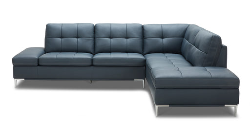 Divani Casa Lariat Modern Blue Eco-Leather Sectional Sofa