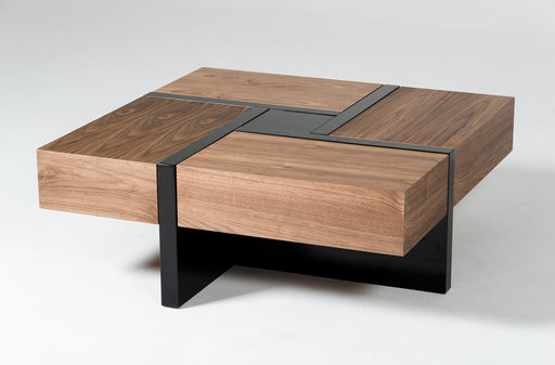 Modrest Makai Modern Walnut & Black Square Coffee Table