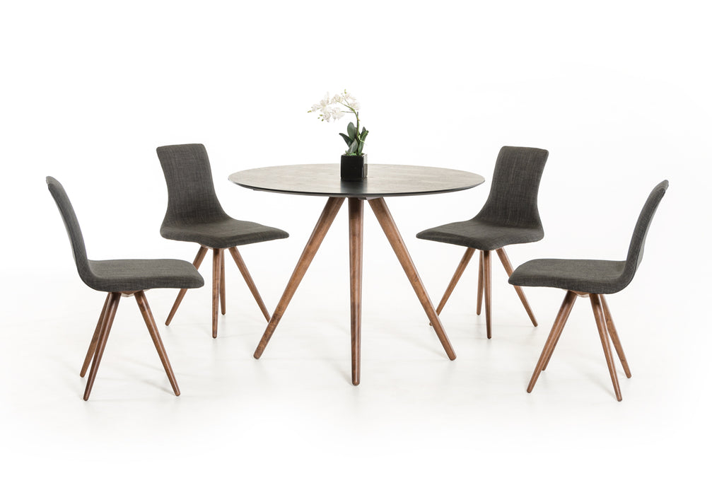 Modrest Tracer - Contemporary Black and Walnut Round Dining Table