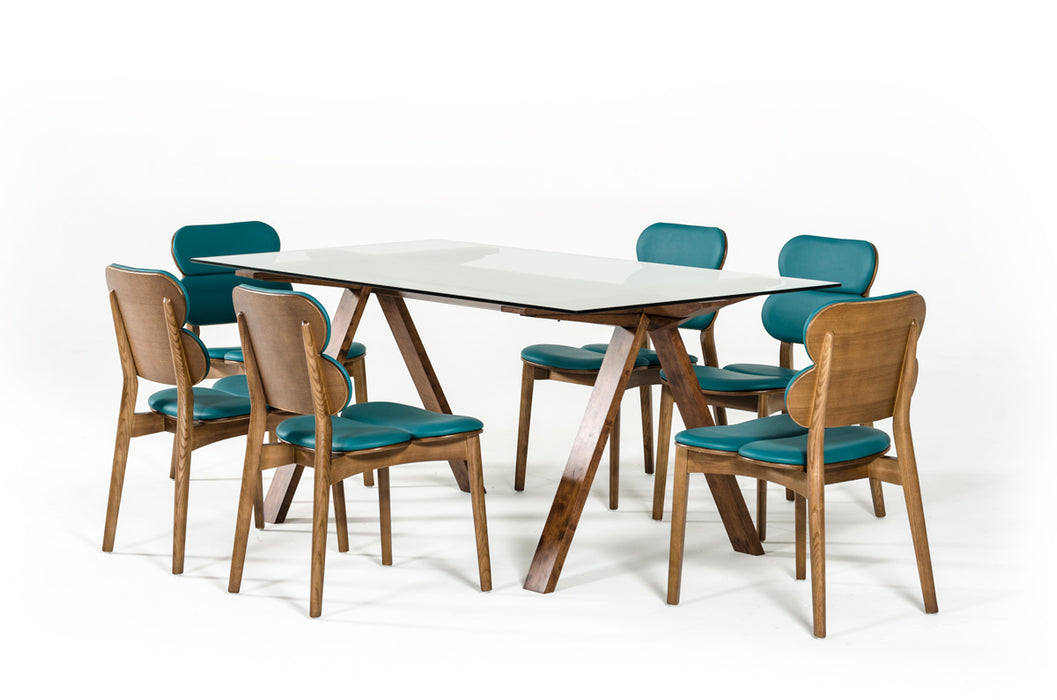 Modrest Maddox Modern Glass & Walnut Dining Table