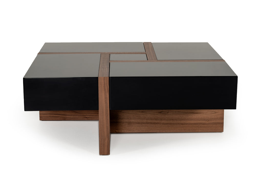 Modrest Makai Modern Black & Walnut Coffee Table