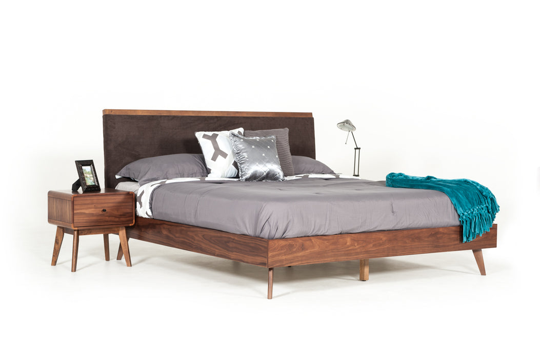 Modrest Marshall Mid-Century Modern Brown Fabric & Walnut Bed