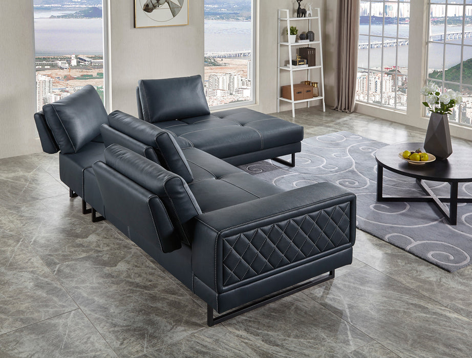 Divani Casa Signal Classic Transitional Contemporary Dark Blue Leather  Sectional Sofa w/ Adjustable Backrests