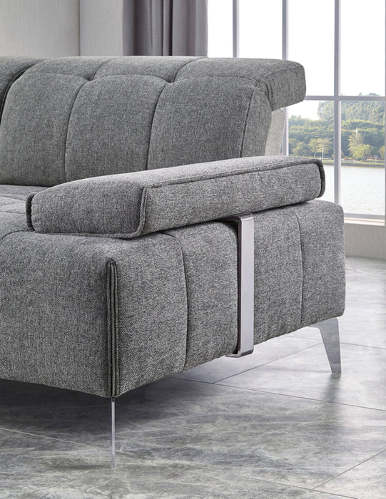 Divani.Divani Casa Nash Modern Contemporary Grey Tufted Fabric Sectional Sofa W Adjustable Backrest