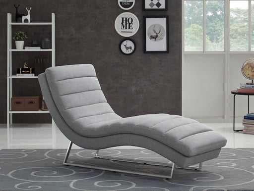 Divani Casa Auburn Modern Contemporary Plush Grey Fabric Lounge Chaise