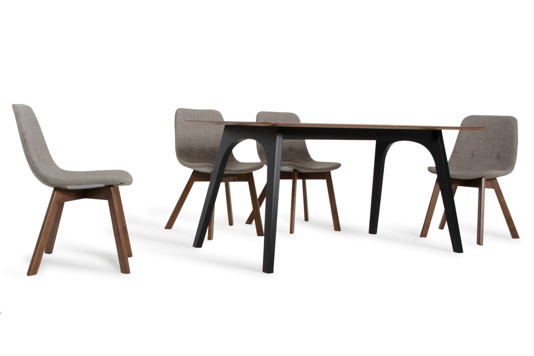 Modrest Laken Modern Walnut & Black Dining Table