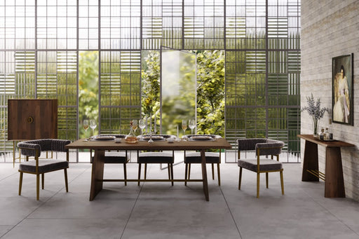 Modrest Selena Modern Acacia & Brass Dining Table