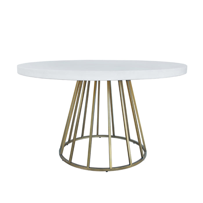 Modrest Harper Modern White Concrete & Antique Brass Round Dining Table