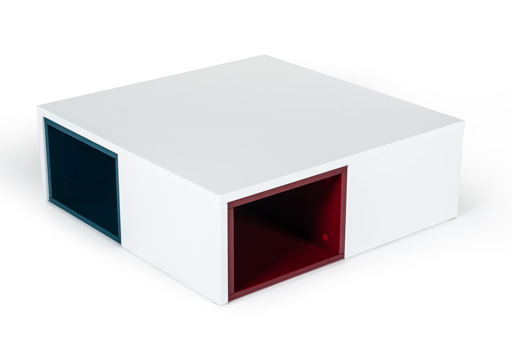 Modrest Ore Modern White Coffee Table With Colored Stools