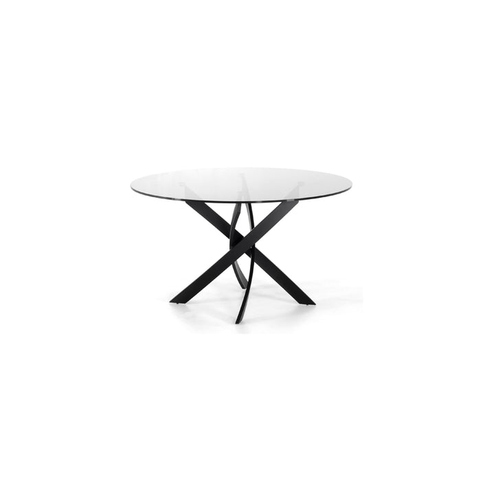 Modrest Pyrite Modern Smoked Glass & Black Round Dining Table