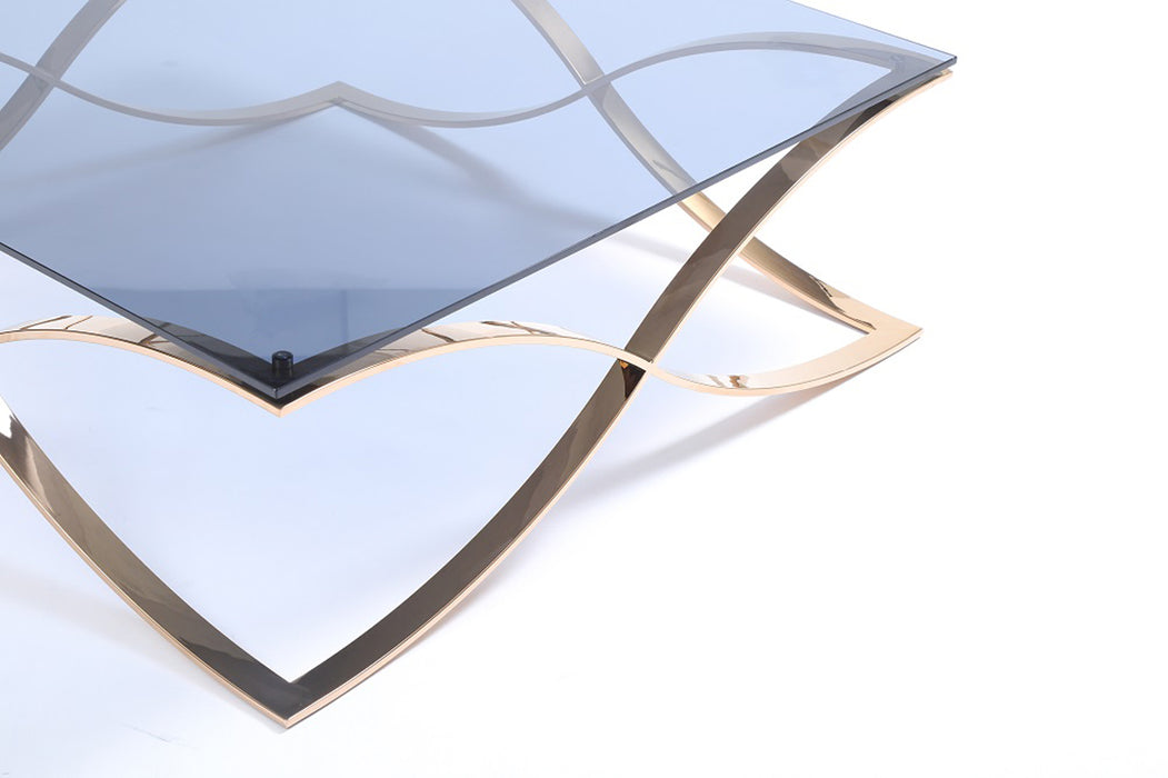 Modrest Reklaw Modern Smoked Glass & Rosegold Coffee Table