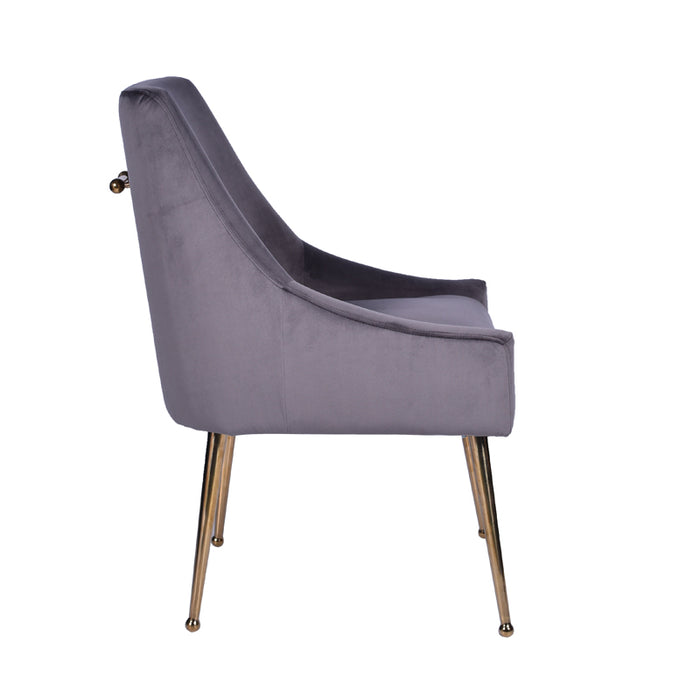 Modrest Castana Modern Grey Velvet & Gold Dining Chair (Set of 2)