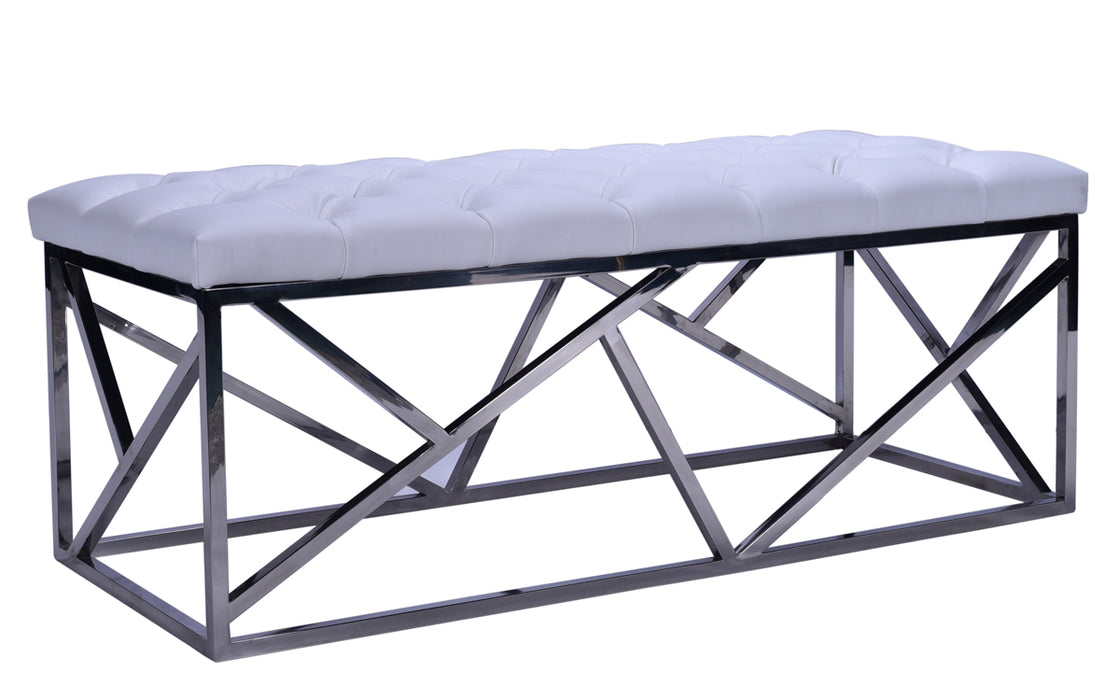 Modrest Lindsey Modern White Leatherette & Stainless Steel Bench