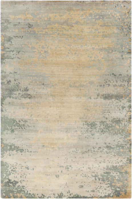 SLI-6401 edition. Variant Number SLI6401-58 is an Area Rugmanufactured, and tailored by Candice Olsonrugs, and part of the Slice of Nature Collection. Slice of Nature is one of our top selling best sellers, and Hand Knotted in India.  Made with Knot type Persian with elegant details , Antique Wash,Lustrous Sheen. Made with 90% Wool,10% Viscose  material in Wool, Viscose, 90% Wool,10% Viscose. Backing is No Backing and this beautiful rug is in the colors Light Gray, Khaki, Medium Gray, Tan. T