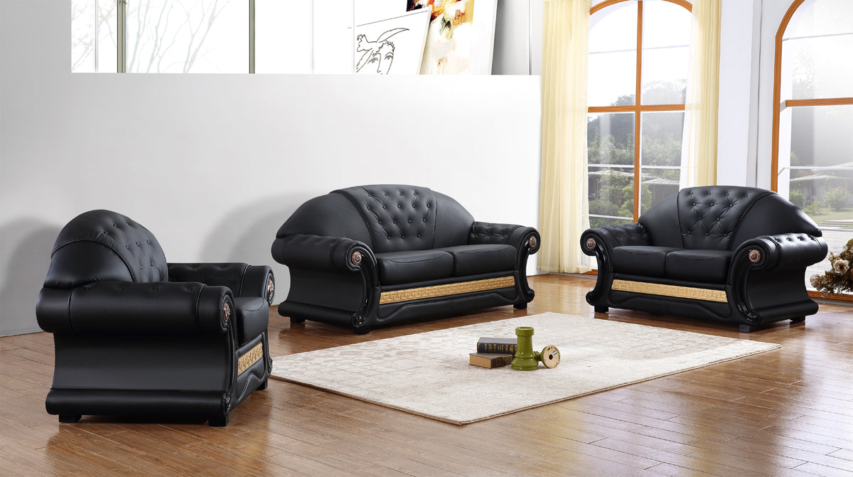 Divani Casa Cleopatra Traditional Black Leather Sofa Set