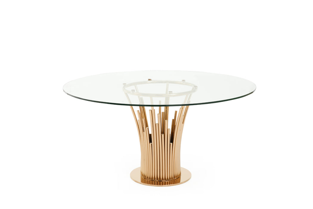 Modrest Paxton Modern Round Glass & Rosegold Dining Table